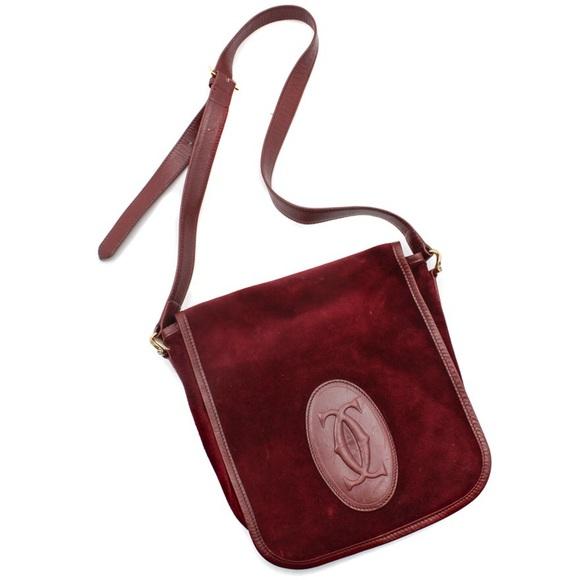 243fe33e6c Cartier Handbags -  Cartier  Suede Crossbody Messenger Vintage Bag